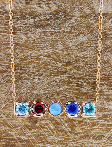 Geometric Necklace caption:14k Rose Gold with Zircon: 0.69, Garnet: 0.61, Opal: 0.35, Sapphire: 0.59, Topaz: 0.54