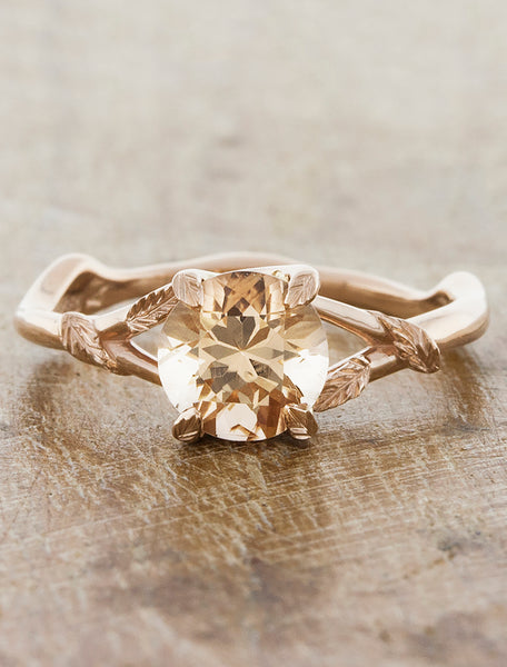Nature inspired engagement ring;caption:1.20ct. Round Morganite 14k Rose Gold
