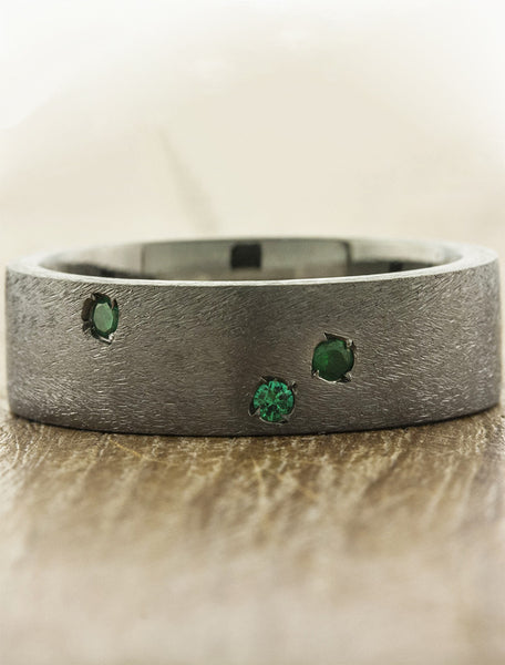 unique men's dark metal wedding ring, gemstone accents