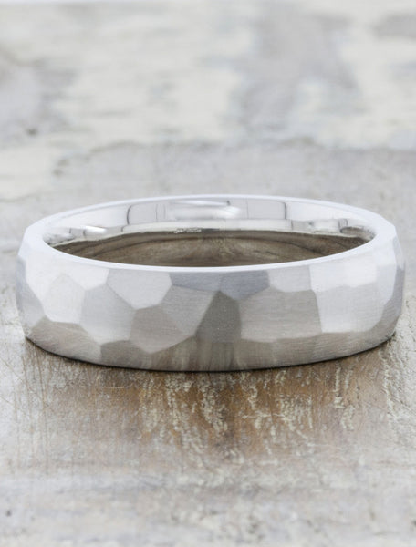 men's multi faceted wedding band