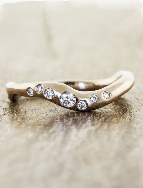 wave band wedding band with diamonds - rose gold variation