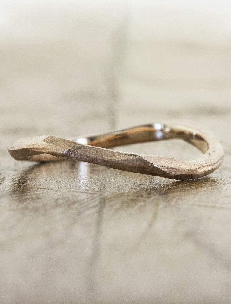 modern knife-edge wedding band - rose gold variation