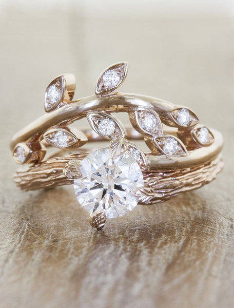 sculptural floral, diamond wedding band - paired with diamond solitaire