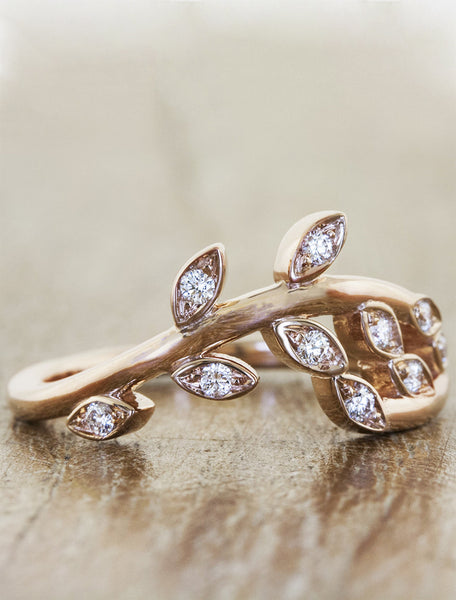 sculptural floral & leaf, diamond wedding band