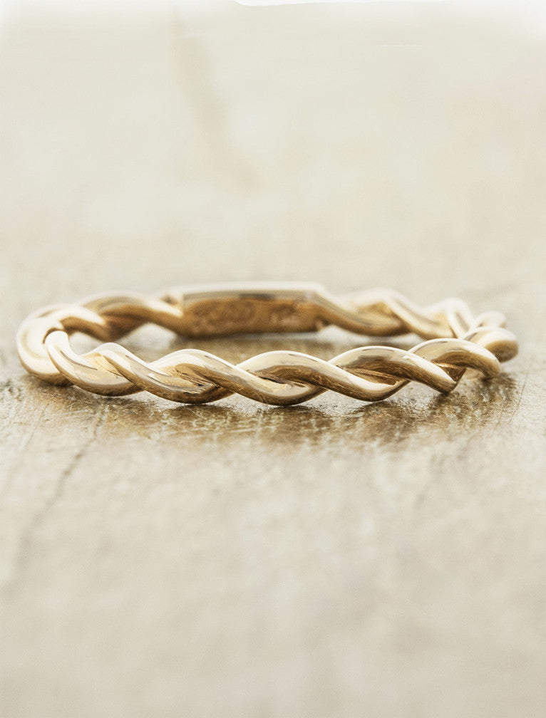 twisted rope wedding band - yellow gold. caption: Lovelace in 14k rose gold, plain band option