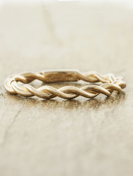 twisted rope wedding band - yellow gold