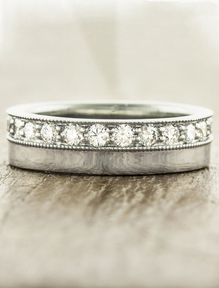 classic diamond wedding band - two tiers, brushed platinum
