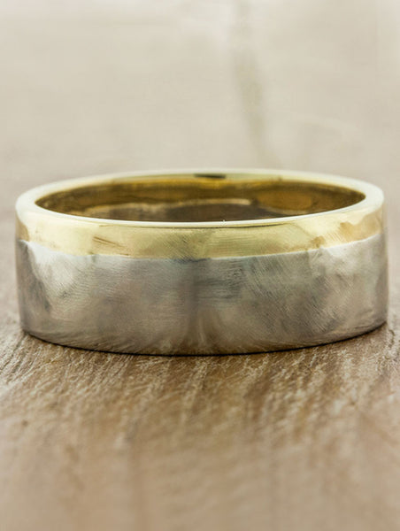 8mm textured mixed metal men's wedding band