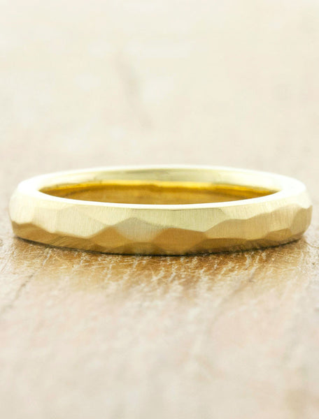 women's multi faceted wedding band - yellow gold