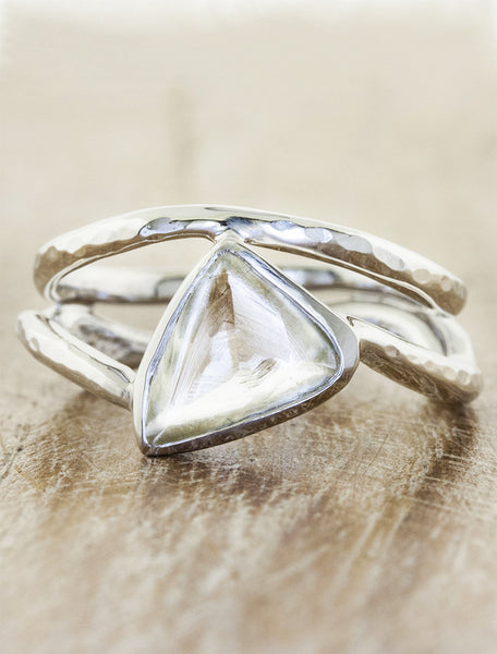 sculptural raw diamond ring with matching band caption:1.28ct. Diamond Maccle paired with Kilor wedding band in Platinum