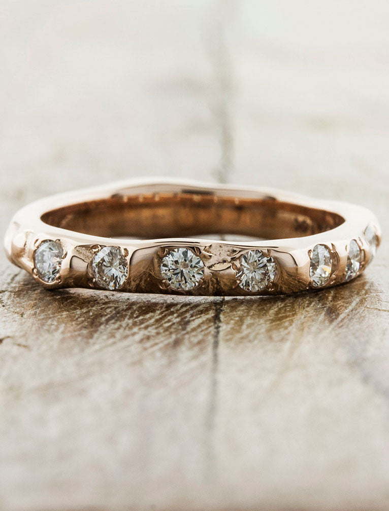 rustic textured 7 diamond wedding band - rose gold