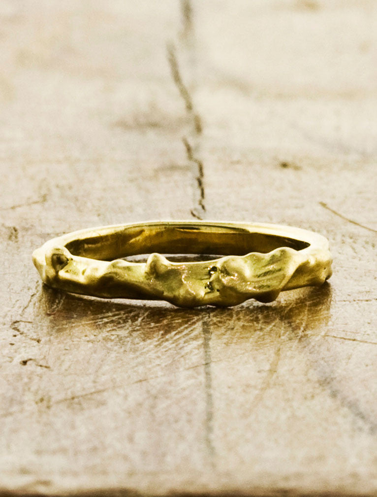 Organic Unique Wedding Bands by Ken & Dana Design - Pax yellow gold