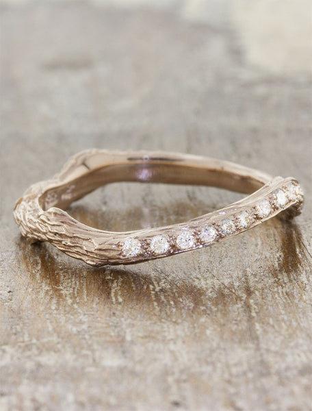 rose gold bark textured wedding ring with diamonds