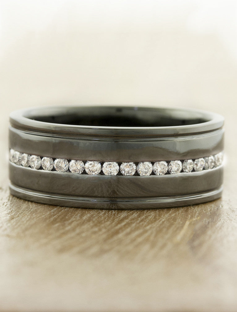 8mm dark platinum men's wedding band with diamonds