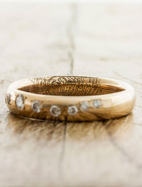 Custom Fingerprint Wedding Bands by Ken & Dana Design - Lili