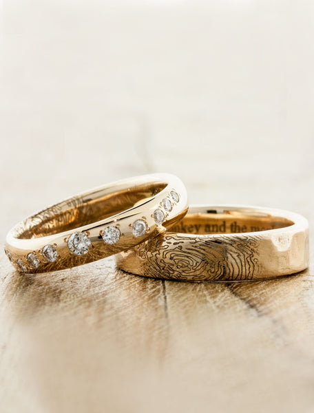 his & her matching custom wedding rings - fingerprint. caption:Shown with Lili matching wedding band