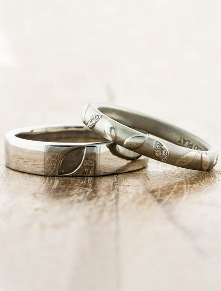 matchin leaf embossed his & her wedding bands