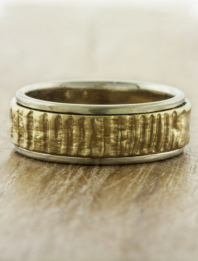 organic texture mixed metal banded wedding ring