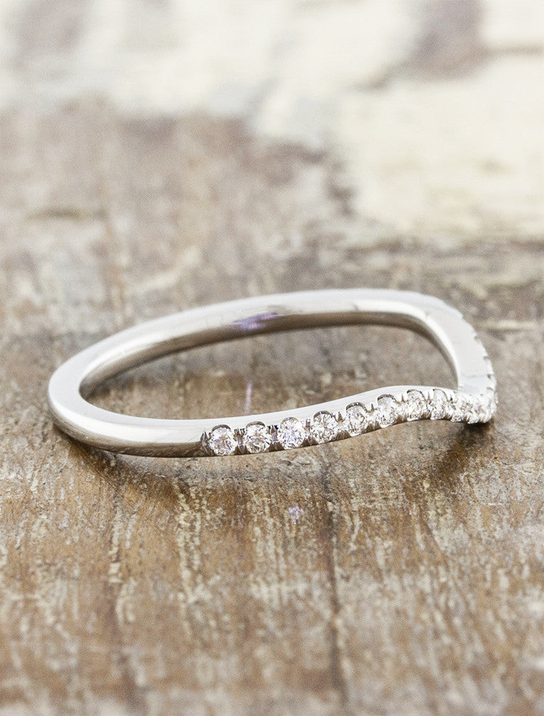 gently contoured diamond wedding band