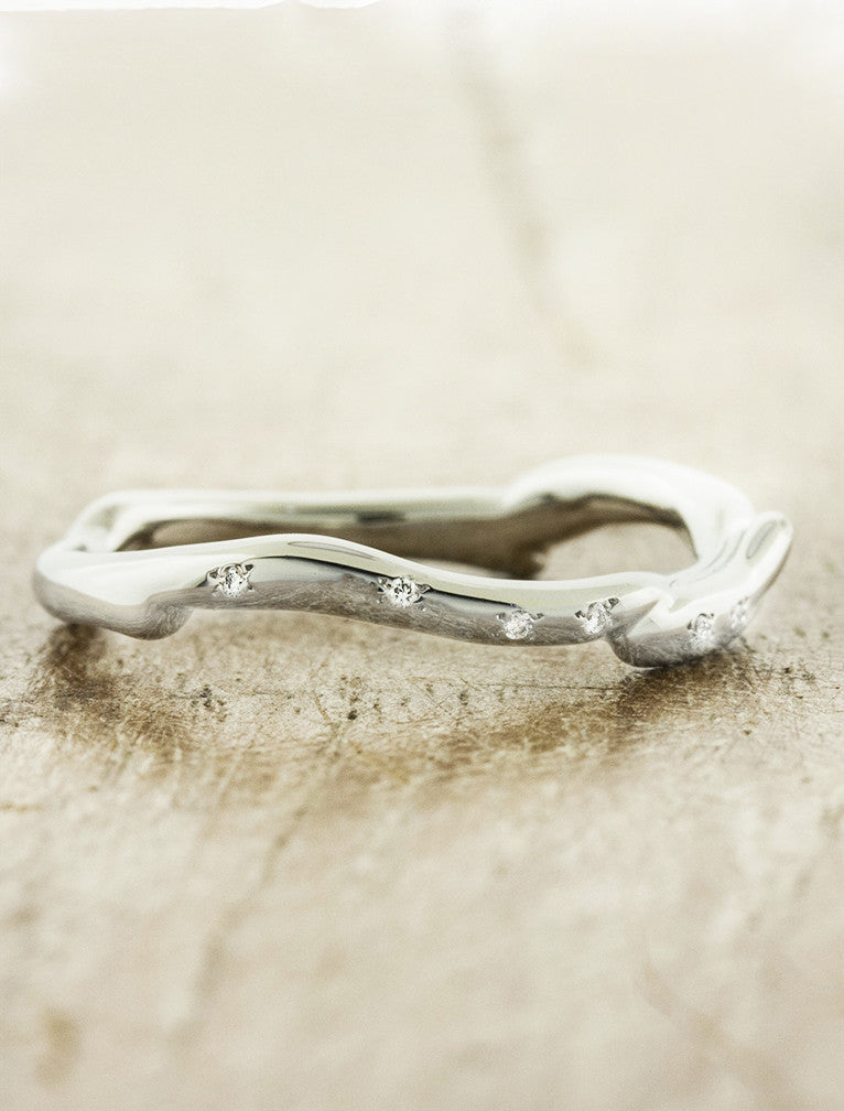 sculptural wedding band, studded diamonds