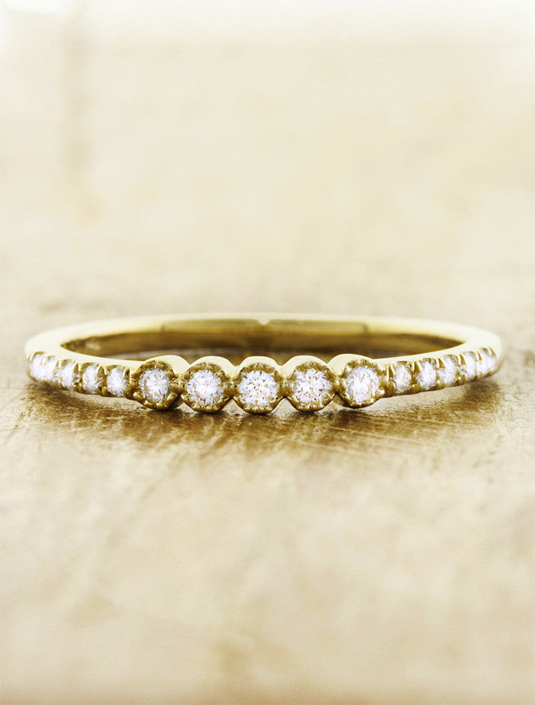petite & delicate diamond yellow gold wedding band
