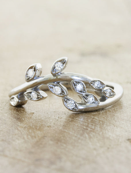 sculptural floral, diamond wedding band