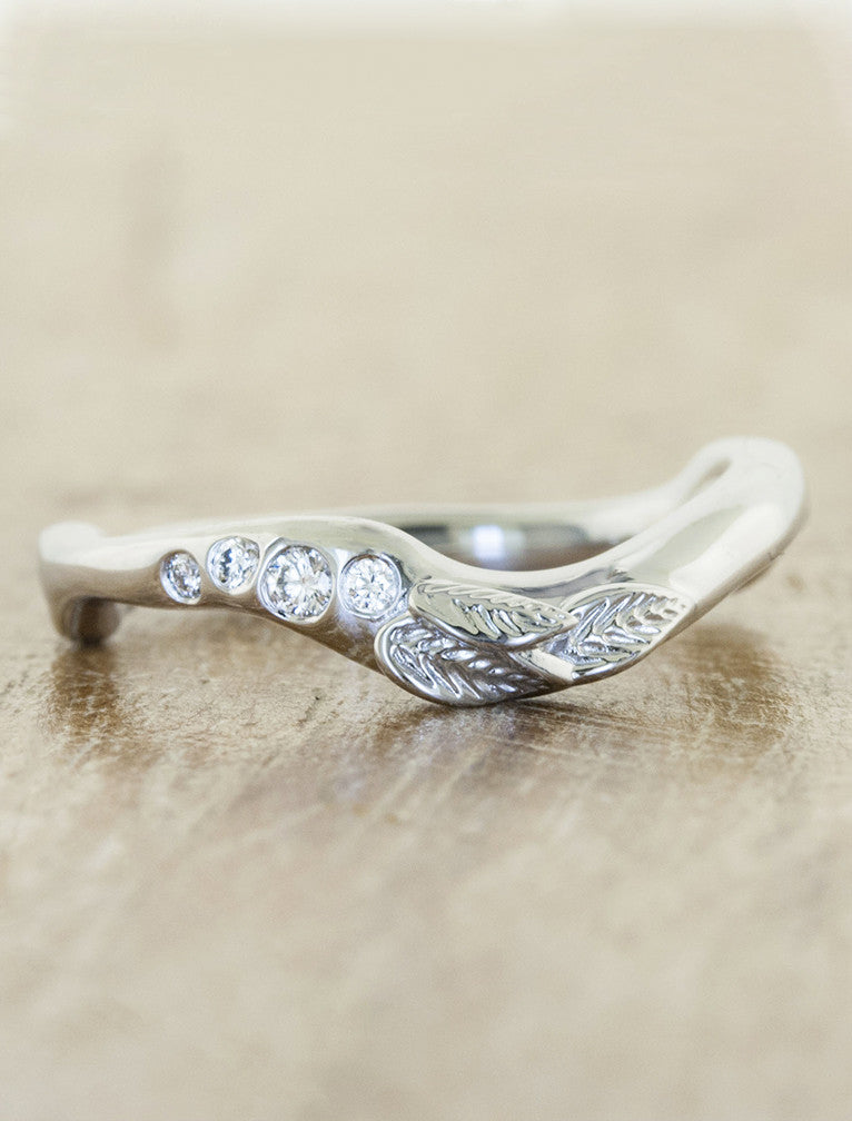 wavy leaf & diamond wedding ring