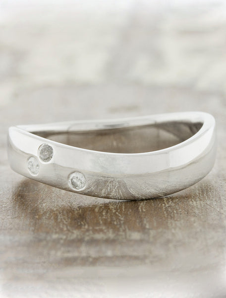 organic men's grey diamond accented wedding band