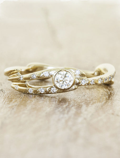 Nature inspired engagement ring;caption:Pictured in 14k Yellow Gold