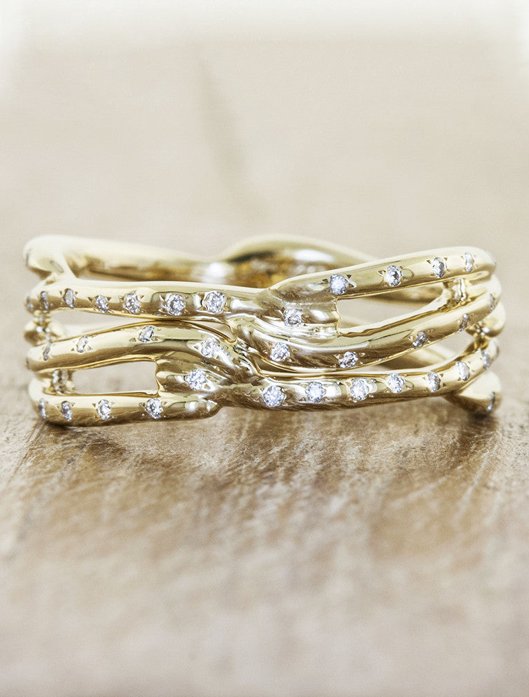 multi strand, split shank diamond accented wedding band - yellow gold. caption:Shown in 14k yellow gold