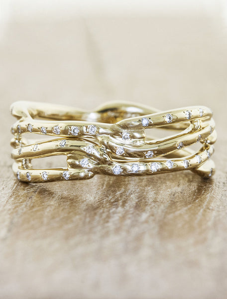 multi strand, split shank diamond accented wedding band - yellow gold