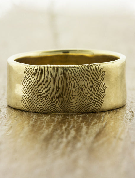 custom fingerprint wedding ring - wide gold