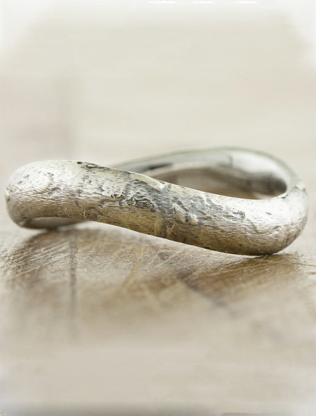 textured, 3mm sculptural wedding band
