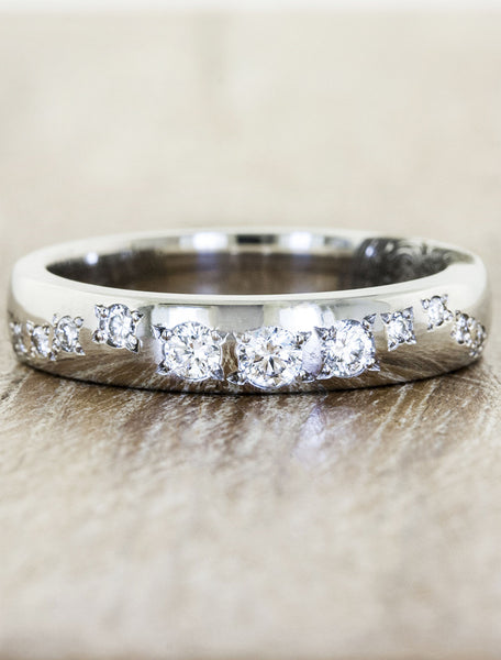 custom fingerprint & diamond wedding band - women's ring. caption:Custom Lili with larger diamonds