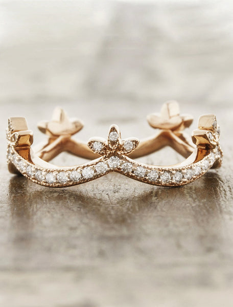crown wedding band in rose gold studded with diamonds
