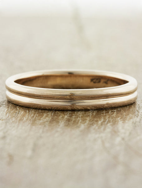 men's thin double band wedding ring
