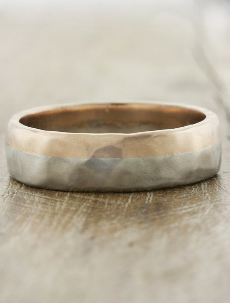 textured mixed metal wedding band