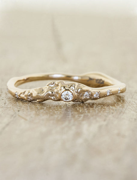 organic shaped bezel set diamond ring - rose gold variation