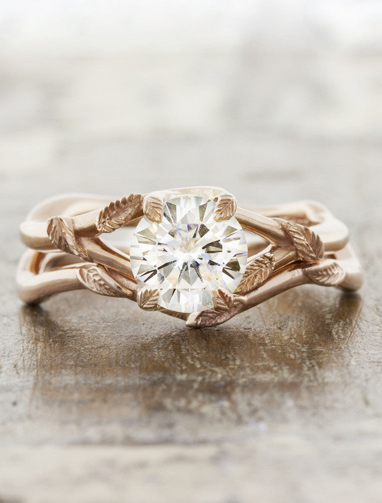 Nature Inspired Rose Gold Solitaire Engagement Ring With Leaf Detail