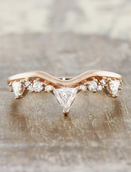 intricate wedding ring with trillion diamonds - rose gold variation