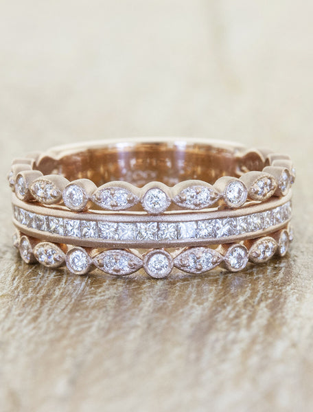 trio wedding ring in rose gold with diamonds
