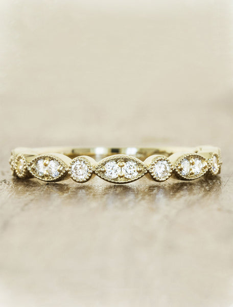 stackable vintage inspired diamond wedding band - yellow gold variation