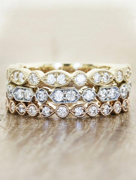 stackable vintage-inspired diamond wedding bands, mixed metals