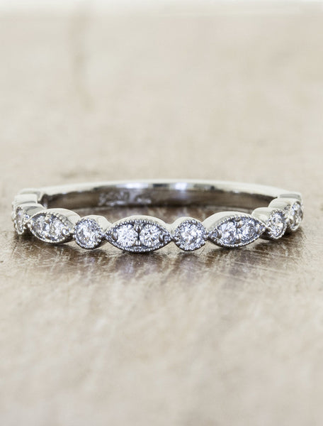 stackable vintage inspired diamond wedding band