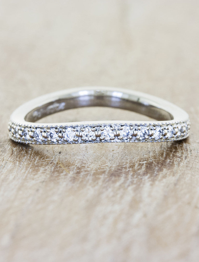 2mm sculptural diamond eternity band, milgrain detail