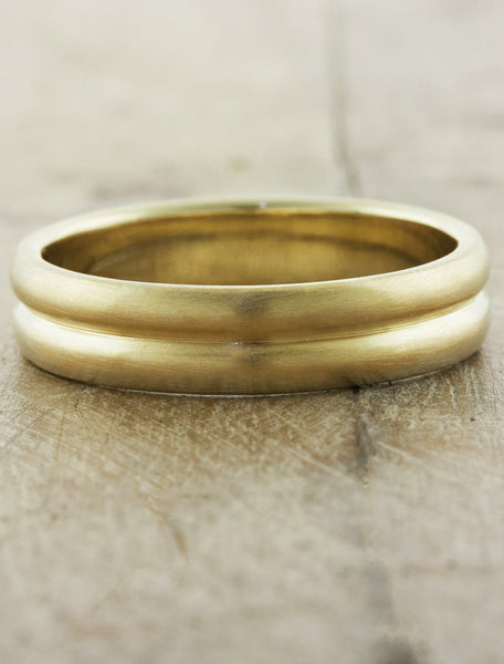 men's brushed double band wedding ring