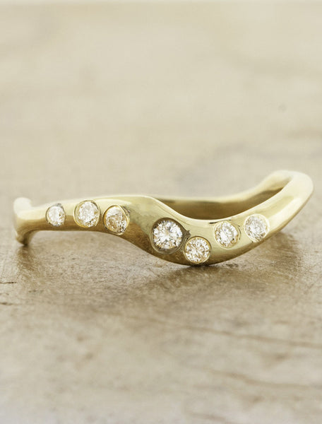 wave band wedding band with diamonds - yellow gold variation. caption:Shown in yellow gold