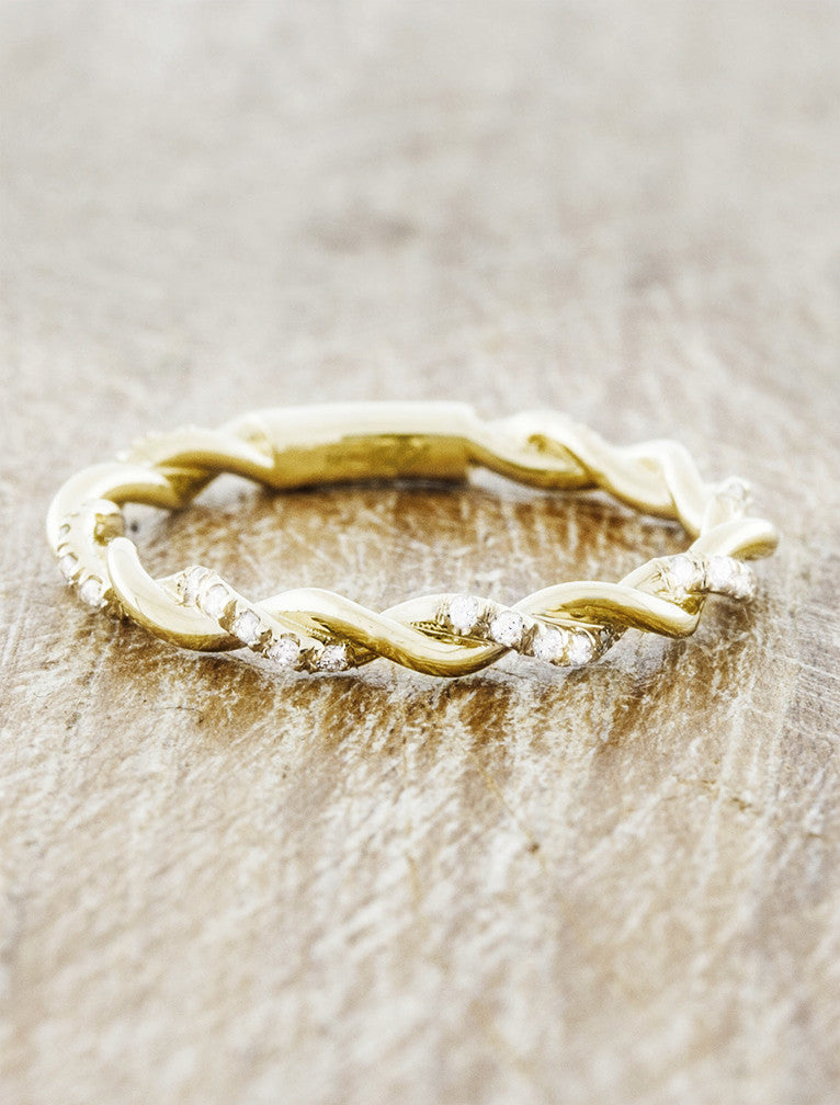 twisted rope wedding band - yellow gold with diamonds