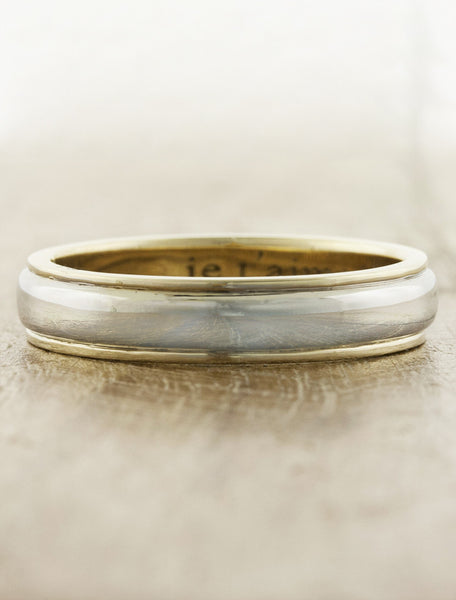 lightly hammered multi metal wedding band - yellow gold variation