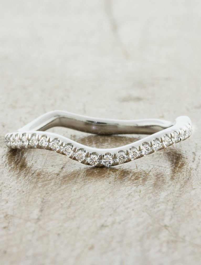 curved, wavy diamond wedding ring